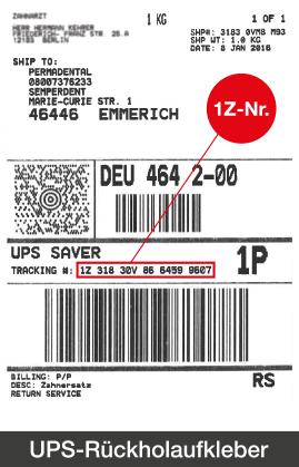 UPS-Rückholaufkleber